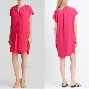 VINCE Pockets Crepe Popover Shift Dress